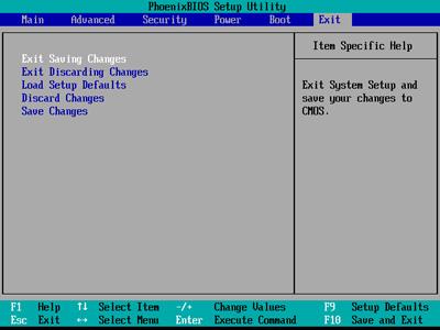 exit setup menu