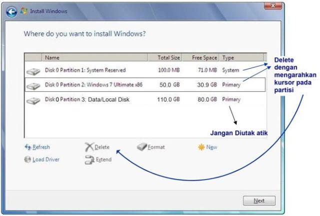 delete partisi windows 7