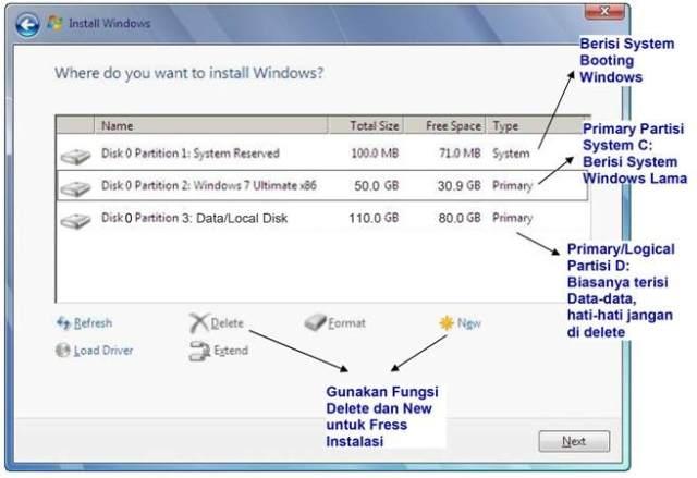 pengaturan partisi windows 7